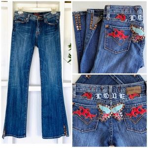 Vigoss LOVE Embroidered Studded Jean 3/4